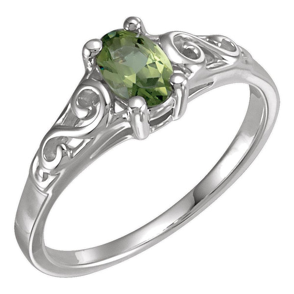 Sterling Silver August Imitation Birthstone Ring , Size 5