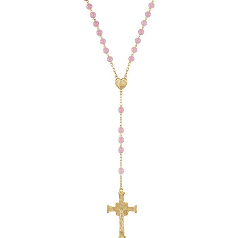 Rose Quartz Rosary in Yellow Gold Filled