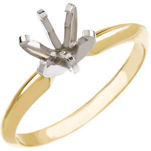 14K Yellow & White 6-6.6mm Round Pre-Notched 6-Prong Solitaire Ring Mounting, Size 6
