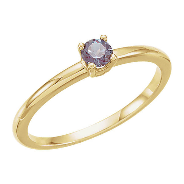 "14k Yellow Gold Genuine Alexandrite ""June"" Youth Birthstone Ring, Size 3"