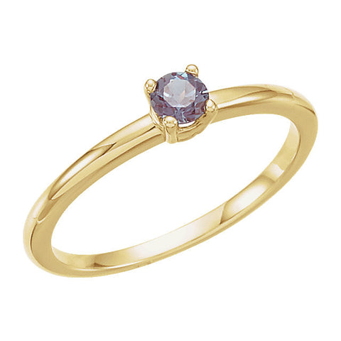 "14k Yellow Gold Genuine Alexandrite ""June"" Kid's Birthstone Ring, Size 3"