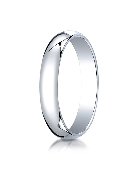 Benchmark 10K White Gold 4mm Slightly Domed Traditional Oval Wedding Band Ring (Sizes 4 - 15 )
