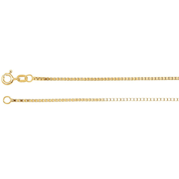 "14k Yellow Gold 1.3mm Diamond Cut Box 16"" Chain with Spring Ring"