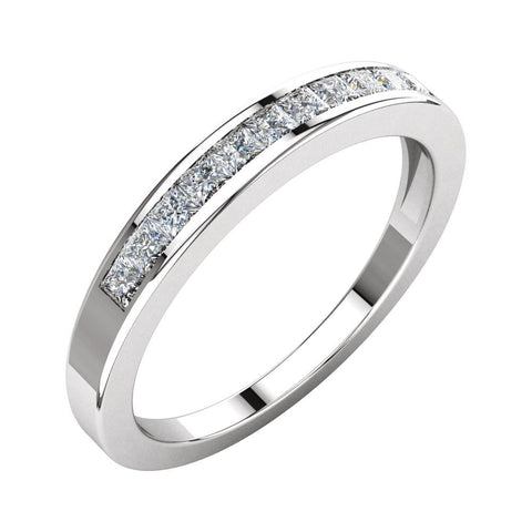 1/3 CTTW Princess-Cut Diamond Anniversary Band in 14k White Gold (Size 8 )