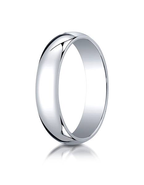 Benchmark 10K White Gold 5mm Slightly Domed Traditional Oval Wedding Band Ring (Sizes 4 - 15 )