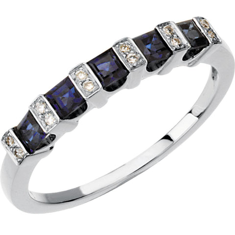 0.05 CTTW Genuine Sapphire and Diamond Anniversary Band in 14k White Gold ( Size 6 )