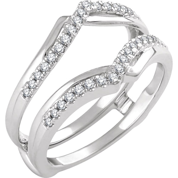 14k White Gold 1/4 CTW Diamond Ring Guard, Size 7