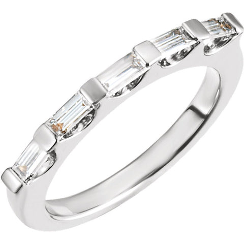 9/10 cttw, SI2-3, G-I Bridal Anniversary Band 5-Stone in 14K White Gold ( Size 6 )