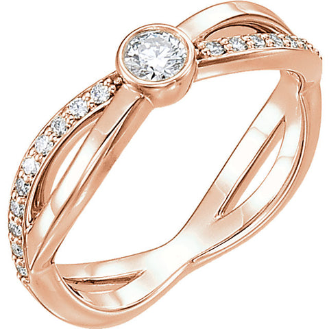 14k Rose Gold 1/3 CTW Diamond Infinity-Inspired Ring, Size 7