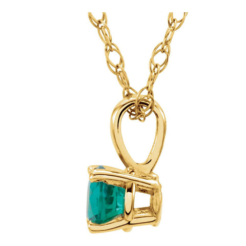 "14k Yellow Gold Emerald ""May"" Birthstone 14"" Necklace"