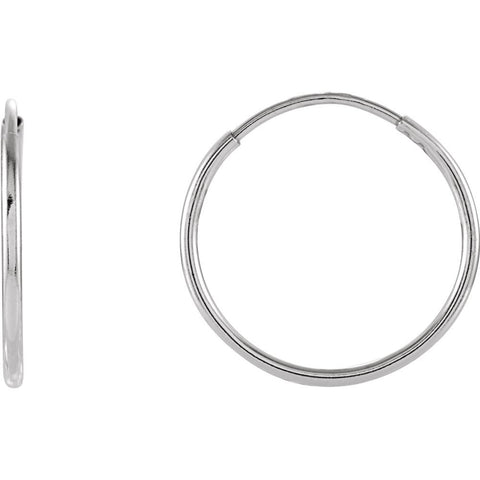 14K White Gold 15mm Endless Hoop Earrings