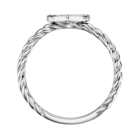 Sterling Silver 1/8 CTW Diamond Heart Rope Ring, Size 7