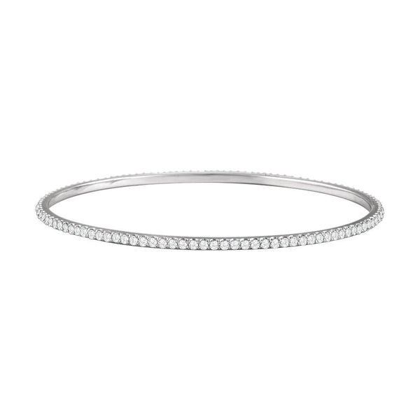 14k White Gold 3 CTW Diamond Stackable Bangle Bracelet