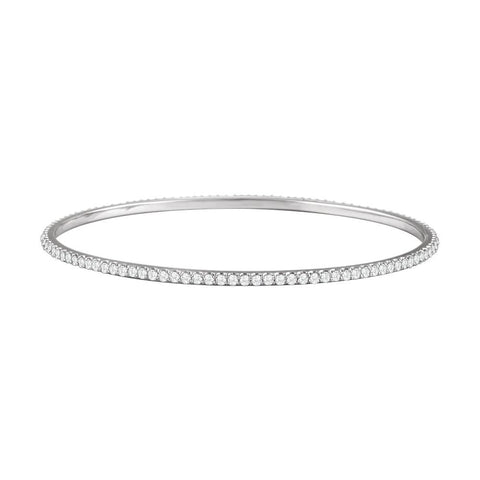 14k White Gold 3 ctw. Diamond Stackable Bangle Bracelet