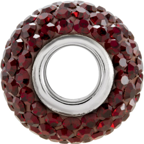 Sterling Silver 12x8mm Garnet-Colored Crystal Pavé Bead