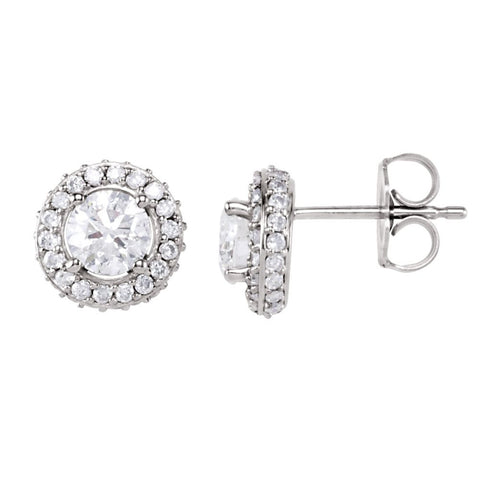 Pair of 1 1/5 CTTW Entourage Friction Post Stud Earrings in 14k White Gold