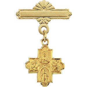 14k Yellow Gold 12x12mm Four-Way Medal Baptismal Pin