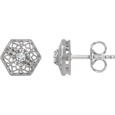 14k White Gold Filigree Earring Mounting