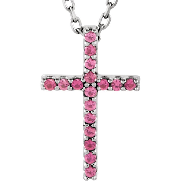 "14k White Gold Pink Tourmaline Cross 16"" Necklace"