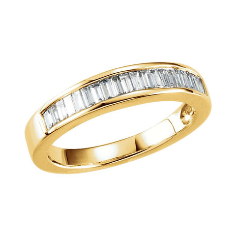 14k Yellow Gold 1/2 CTW Diamond Anniversary Band Size 5