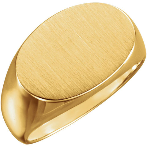 12.00X18.00 mm Men's Signet Ring with Brush Finished Top in 10k Yellow Gold ( Size 10 )