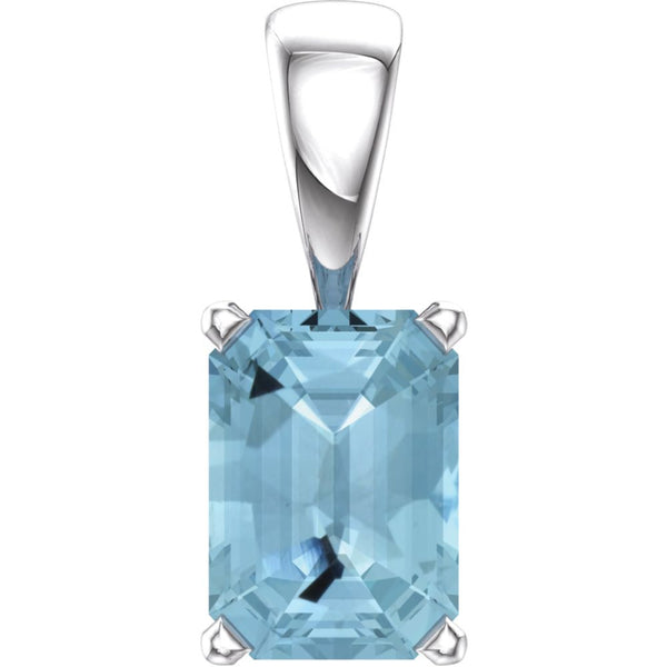 14k White Gold Aquamarine Pendant