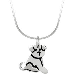 Kids Puppy 16-Inch Necklace in Sterling Silver