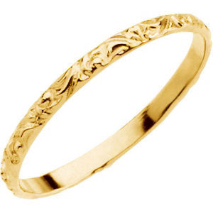 14k Yellow Gold Youth Etched 1.5mm Band, Size 3