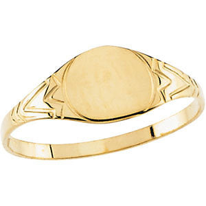06.00 mm Kid's Round Signet Ring in 14k Yellow Gold ( Size 6 )