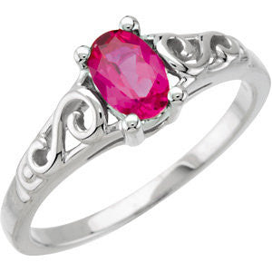 Kids' Imitation Birthstone Ring in 14K White Gold (Size 6)