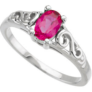14k White Gold July Imitation Birthstone Ring , Size 5