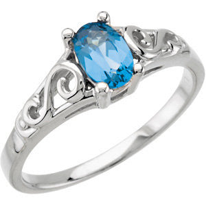 Elegant and Stylish December Kid's Imitation Birthstone Ring in 14K White Gold ( Size 3 )