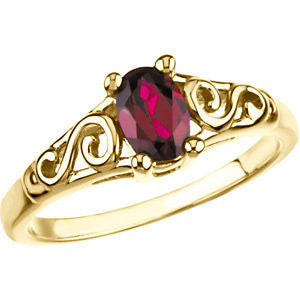 Kids' Imitation Birthstone Ring in 14K Yellow Gold (Size 6)