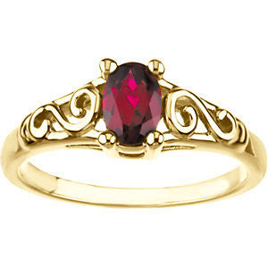14k Yellow Gold January Imitation Birthstone Ring , Size 5
