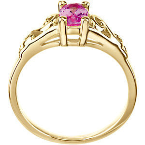 14k Yellow Gold October Imitation Birthstone Ring , Size 5