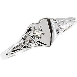 Sterling Silver .01 CTW Diamond Heart Ring, Size 3