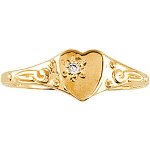 14k Yellow Gold .01 CTW Diamond Heart Ring, Size 3