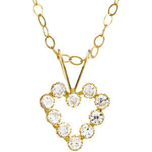 Kid's CZ Heart Necklace with 15.00 Chain in 14k Yellow Gold