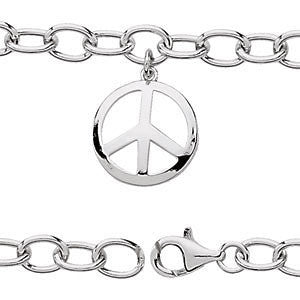 "Sterling Silver Oval Link Youth 7.5"" Bracelet with Peace Charm"