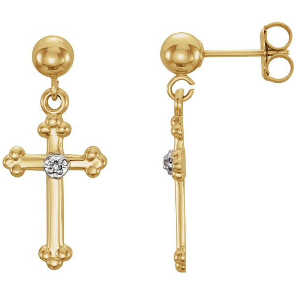 14k Yellow Gold .01 CTW Diamond Cross Dangle Earrings
