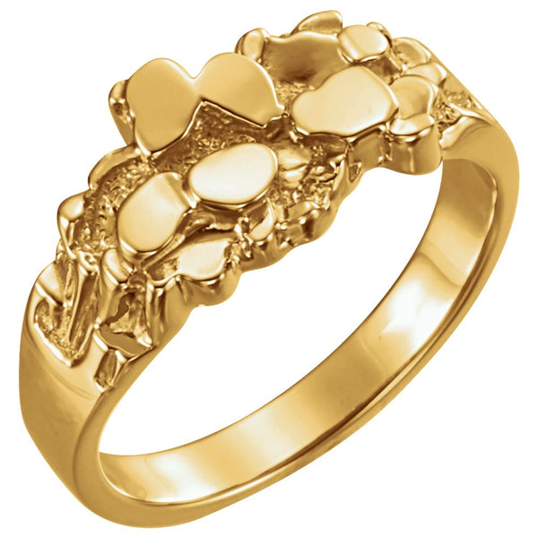 10k Yellow Gold Nugget Ring Mounting, Size 11
