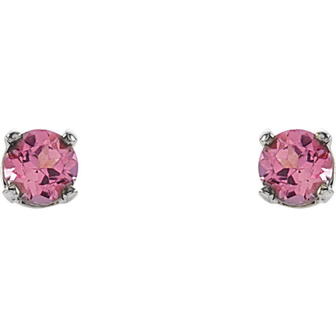 Sterling Silver Imitation Pink Tourmaline Youth Earrings