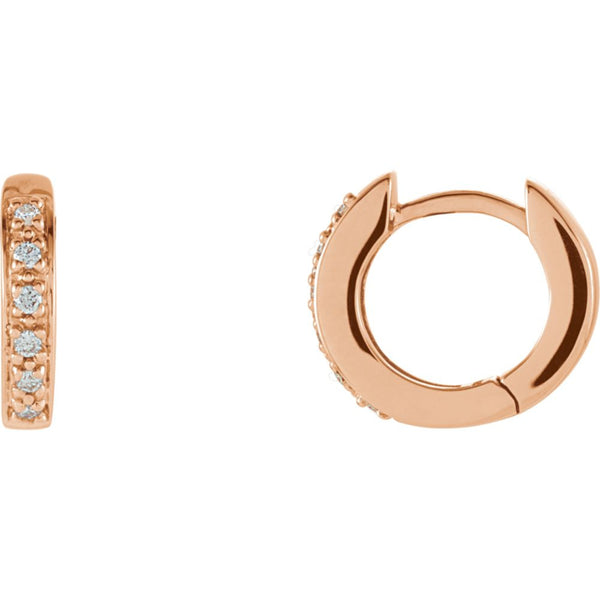 14k Rose Gold 1/10 CTW Diamond Hoop Earrings