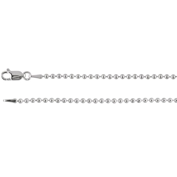 "Sterling Silver 2mm Bead 16"" Chain"