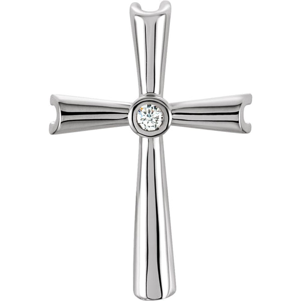 14k White Gold .04 CTW Diamond Cross Pendant