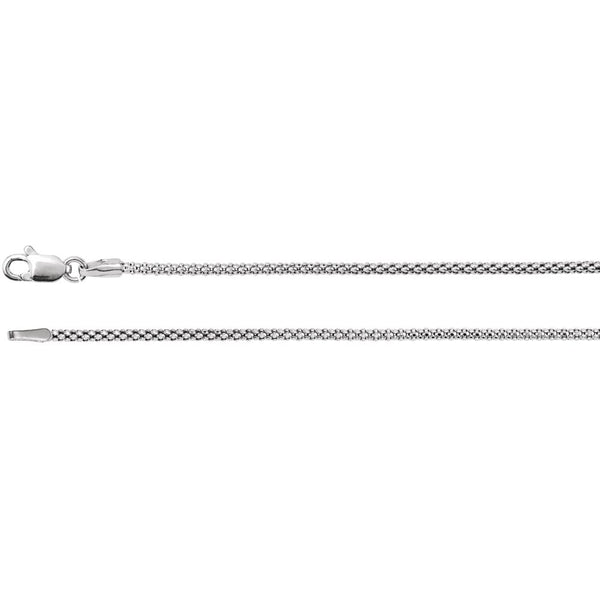 "14k White Gold 1.5mm Hollow Popcorn 16"" Chain"