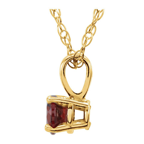 "14k Yellow Gold Imitation Ruby ""July"" Birthstone 14"" Necklace"
