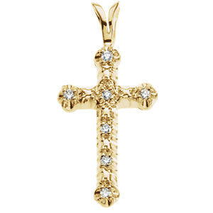 20.00x13.00 mm Cross Pendant with Diamond in 14K Yellow Gold