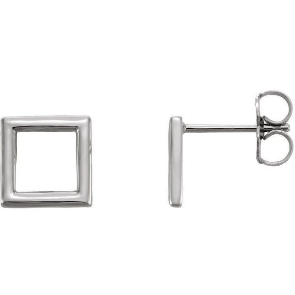 14k White Gold Square Earrings