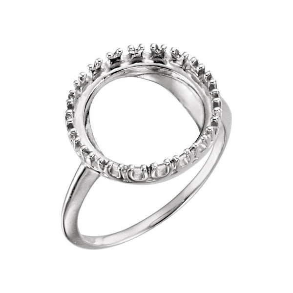 14k White Gold 13mm Coin Ring Mounting, Size 7